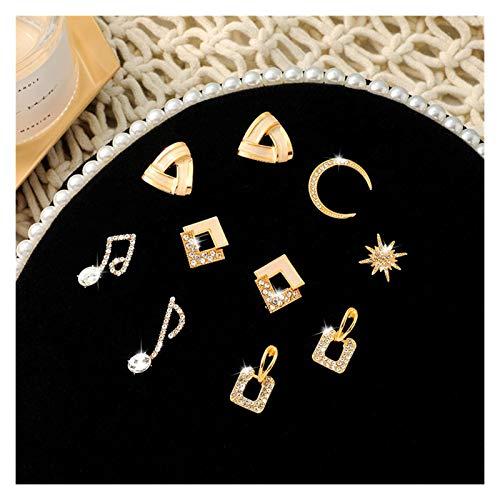 LDH 5 Pairs of Earrings Cold Wind for a Week Earrings for Girls Set Cubic Zirconia Stud Earrings Set Shiny Rhinestone 925 Silver Needle Earrings (Color : C)