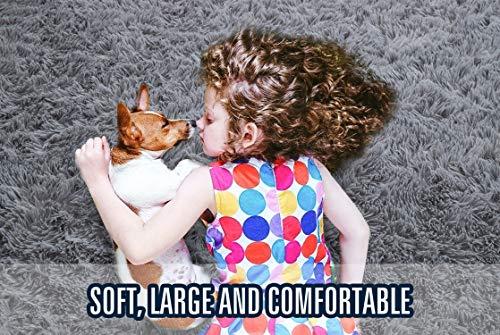 YOH Nursery Area Rug Soft Luxury Shag Carpets for Home Bedroom Living Room, 5 x 8 Feet Grey
