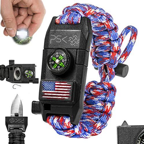 PSK Paracord Armband 8 in 1 Persönliches Survival Kit Urban & Outdoor Survival Messer Feuerstarter Glasbrecher Survival Pfeife Signalspiegel Angelhaken Kompass (Rot Blau USA Flagge)