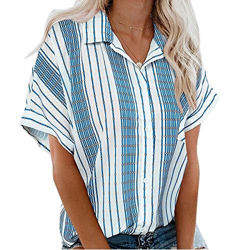 VEMOW Blusas y Camisa con Botones Camisetas Manga Corta Mujer Básico Elegantes T-Shirt, Verano Informal Suelto Blusa Túnico Tops Estampado de Raya Tallas Grandes Fiesta Tshirt Original tee(A Azul,M)