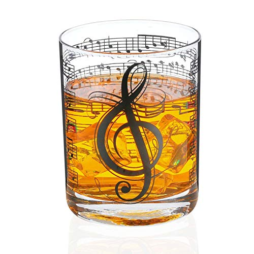 Music Whiskey Glass for Men, Him, Male - Black Music Note Design - Musician Gifts, Musical Gift, Piano Gifts for Music Lovers - Classic Unique Musical Decor - 11oz/325ml