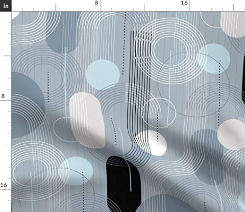 Spoonflower Fabric - Art Deco Mindful Modern Geometric Water Printed on Fleece Fabric by The Metre Sewing Blankets Loungewear and No-Sew Projects