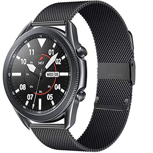 DAAGFC 20 / 22mm para Huawei Watch GT2 Pro/FIT Band para Samsung Galaxy Watch 3 45 / 41mm Cinturón de Acero Inoxidable Milanese Active 2 46 / 42mm Correa