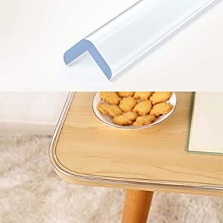 Wemk Transparent Table Edge Furniture Guard Corner Protectors Bumper Strip 1 Rolls 20ft(6.1m) with Double-Sided Mounting Tape for Cabinets, Drawers, Tables, Household Appliances etc