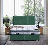 Cama canapé Madrid con canapé de tela, cama doble color verde oscuro, tamaño 140 x 200 cm