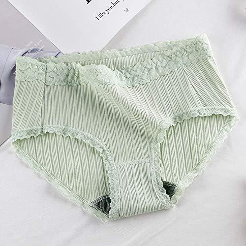 Fuduoduo Bragas De Cintura Alta CóModo,Bragas de Cintura Media sin Costuras de Encaje de algodón con Hilos para Mujer-Verde 4pcs_M #,Ropa íntima de algodón de Tejido Suave