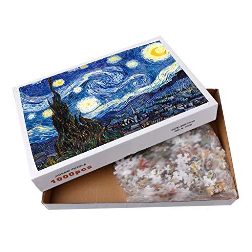 Angelliu Puzzel Voor Volwassenen 1000 Stukjes, De Beroemde Wereldschildering Door Van Gogh Starry Puzzle, 75x50cm