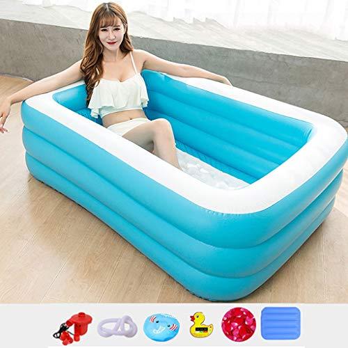 Zyy Opblaasbare draagbare badkuip voor volwassenen, van pvc, vouwen in bad, dikkere kunststof emmer