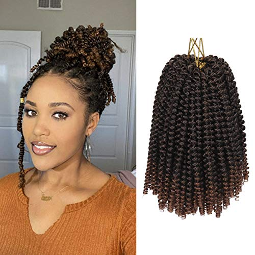 8Inch Spring Twist Crochet Braiding Hair Extensions Ombre Color Hair 3Packs Synthetic Short Bomb Spring Twist Mini Passion Twist Fluffy Twist Crochet Braids Hair(30Strands/Pack,T1B/30#)