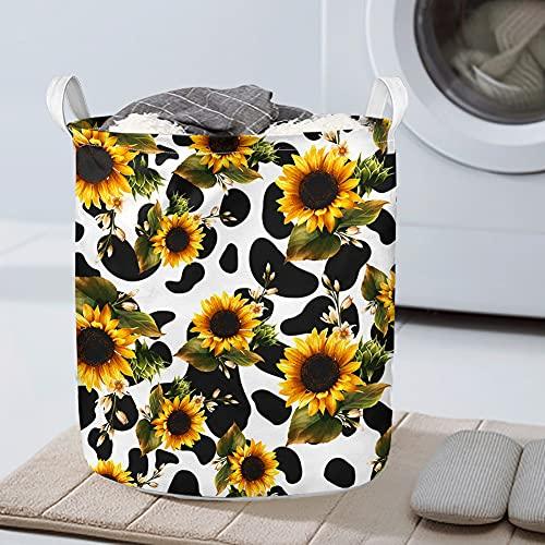 Großer Wäschekorb, wasserdichte Beschichtung, faltbarer Wäschekorb, Eimer, zylindrischer Leinen-Aufbewahrungskorb mit Handgriffen, Sonnenblumen-Muster für Damen, Herren, Erwachsene