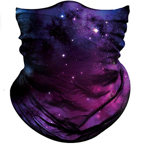 Obacle Seamless Bandana for Rave Face Mask Dust Wind Sun Protection Galaxy Tube Mask Headwear Bandana for Women Men Festival Party Motorcycle Riding Fishing Outdoor (Starry Sky Deep Purple)