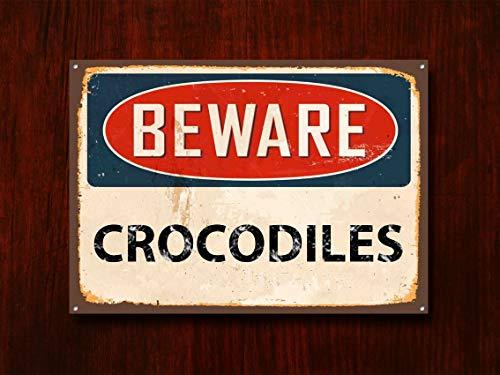Fhdang Decor Beware Crocodiles, Panneau en métal, Panneau Beware Signage, Beware Signe, Beware Signs, Beware Sign, Panneau Mural, Panneau de Style Vintage, Panneau d'avertissement, 30,5 x 45,7 cm