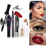Ocamo – Juego de 4 piezas de maquillaje para mujeres, sombra de ojos, pintalabios, máscara, delineador de ojos, set de cosméticos