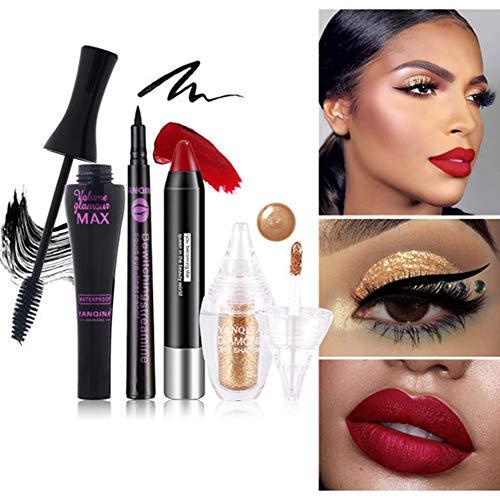 Yiwa 4pcs / set Femmes Ombre À Paupières Rouge À Lèvres Mascara Eyeliner Cosmetic Set