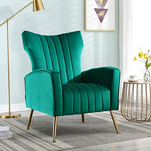 Altrobene Velvet Accent Chair Modern Barrel Wingback Armchair Curved Tufted Club Adult Chair with Gold Legs for Living Room, Bedroom, Office, Green