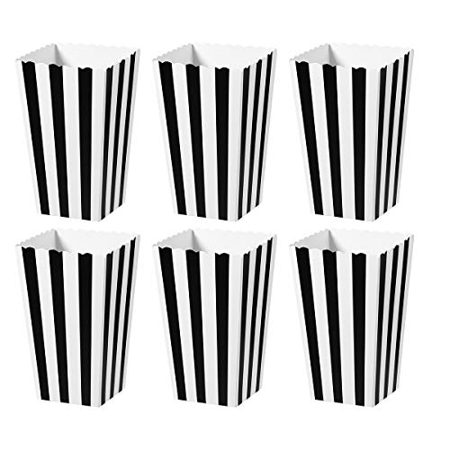TOYMYTOY Popcorn Boxes,Cardboard Popcorn Containers for Party Favor,24pcs (Black)