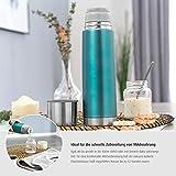 Reer - Botella térmica de acero inoxidable, 500 ml, pequeña, portátil, ideal para bebés, con taza integrada, color azul
