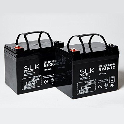 SLK Power Gel-Batterien, 12 V, 36 Ah, für Elektro Scooter und Rollstühle, zuverlässig und langlebig, 2 Stück