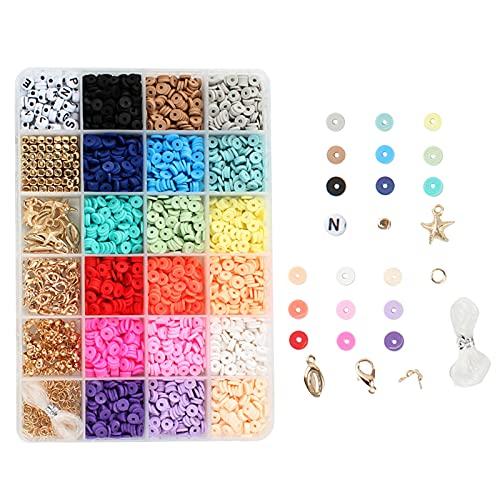 non-brand 1 Caja de 6 mm, Cuentas Redondas de Arcilla polimérica, Colgante Suelto, Anillos de Salto para Pulseras de Bricolaje, Tobilleras, brazaletes, joyería,