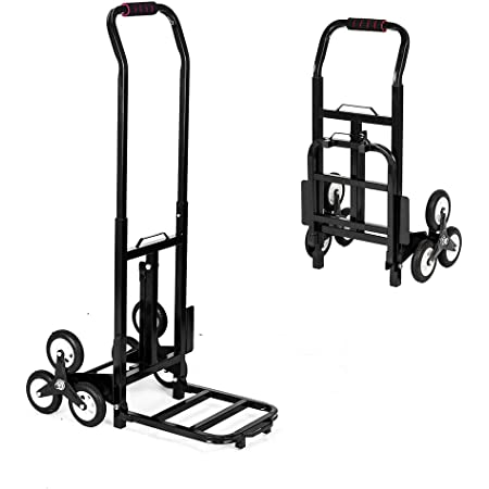 ROVSUN 330LBS Capacity Stair Climbing Cart, 30'' Heavy Duty Hand Truck, Portable Folding Trolley for Upstairs Cargo Transportation, Rubber Three-Wheels & Thickened Tube & Anti-Scratching Mat