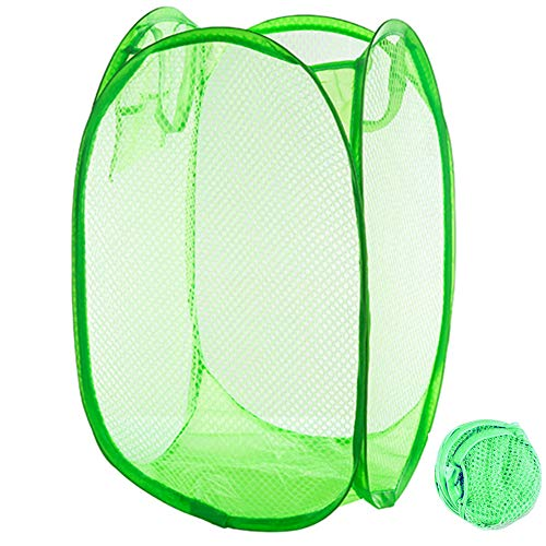 Qtopun Mesh Popup Laundry Hamper Foldable Laundry Basket Portable Dirty Clothes Basket Collapsible Dirty Clothes Hamper for Bedroom Kids Room College Dormitory and Travel Green