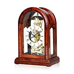 ZGP GPZ Desk Clock, Mechanical Solid Wood Clock, Creative Living Room Table Clock, European Retro Sitting Clock, Living Room Clock Decoration - Rosewood Classic Clock