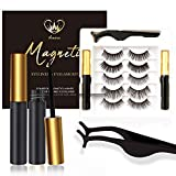 Amina 5 Pairs Reusable Magnetic Eyelashes with Eyeliner 2 Tubes, 3D Magnetic Lashes with Tweezers, Silk Natural Look False Lashes, No Glue Needed