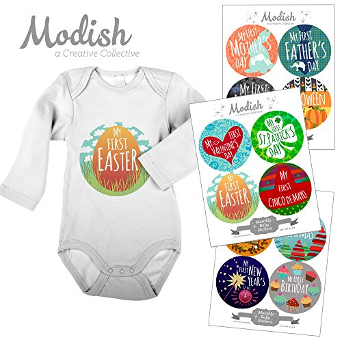 Modish Labels, 12 First Holiday Baby Stickers, Baby's First Easter, Baby's First Mother's Day, Baby's First Father's Day, Baby Photo Prop, Baby Shower Gift, Baby Book Keepsake