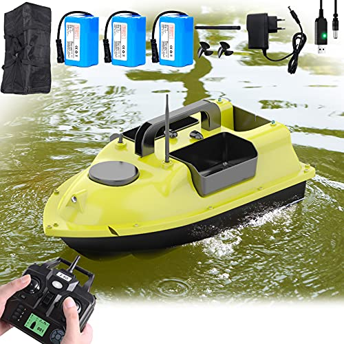 Aocay Barco Cebador Carpfishing Barco Teledirigido de Pesca 500M GPS Inalámbrico Crucero RC Barco con Motores Duales Batería Recargable de 9600 MAh y Bolsa de Almacenamiento, Carga 2 Kg