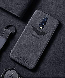 Amozo® - Action Begins Series - Suede Leather Ultra Slim with Camera Protection Back Cover Case for OnePlus 7 (One Plus 7) (Action Begins Series - Grey)