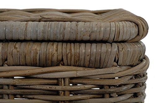 Rattankorb Groß mit Deckel, Flechtkorb auf stabilem Eisenrahmen mit Deckel / Truhe aus unbehandeltem Natur-Rattan, 70x47cm Grau - 5