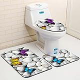 SUNERLORY - Juego de 3 alfombrillas de baño, de secado rápido, alfombrilla de baño, alfombra de inodoro, cubierta de inodoro + alfombrilla de baño + alfombrilla de baño