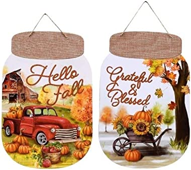 VE Decorative Wooden Harvest Mason Jar Shaped Wall Signs, 13.5x8.5 in.