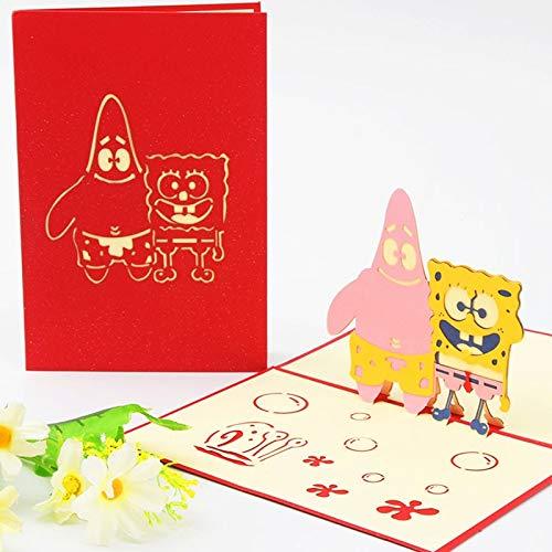 LENVHFKJ 3D-Pop-up-Einladungskarte 3D-Papier Weltattraktionen Geburtstagskarte Reise Postkarte Speichern Sie das Datum Geschenk-Karte (Color : Spongebob)