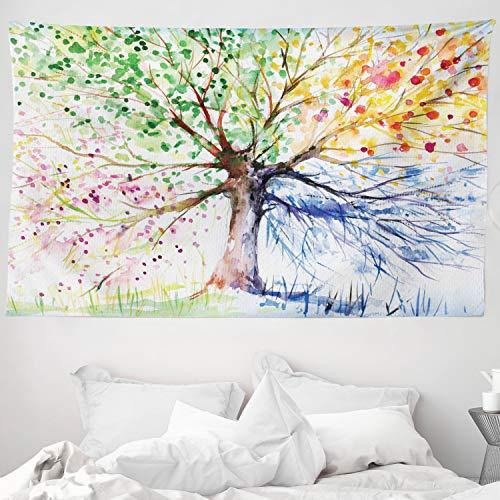 ABAKUHAUS Baum Wandteppich, Aquarell Natur Bunte blühende Zweige 4 Jahreszeiten Thematische Illustration Print, aus Weiches Mikrofaser Stoff Wand Dekoration Für Schlafzimmer, 230 x 140 cm, Multicolor