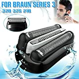 Replace shaving head for Braun, Compatible with 32B 32S 21B series 3 301S 310S 320S 330S 340S 360S 380S 3000S 3020S 3040S 3080S (Black)