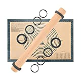 Adjustable Beech Wood Rolling Pin with Removable Thickness Guide Rings, Wooden Dough Roller and Non-Slip Silicone Pastry Baking Mat Kneading Board Mat 60×40cm for Pizza, Pasta, Fondant Icing (Grey)