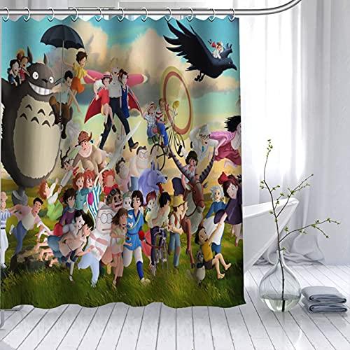 Cortina de la duchaCortina de Ducha con diseño de mi Vecino Totoro, Cortina de baño Impermeable de Dibujos Animados en 3D, Tela de poliéster para niños, Juegos de decoración de baño