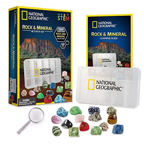 NATIONAL GEOGRAPHIC Rocks and Minerals Education Set - Kit de iniciación de 15 piezas con ojo de tigre, cuarzo rosa, jaspe rojo y más, vitrina y guía de identificación