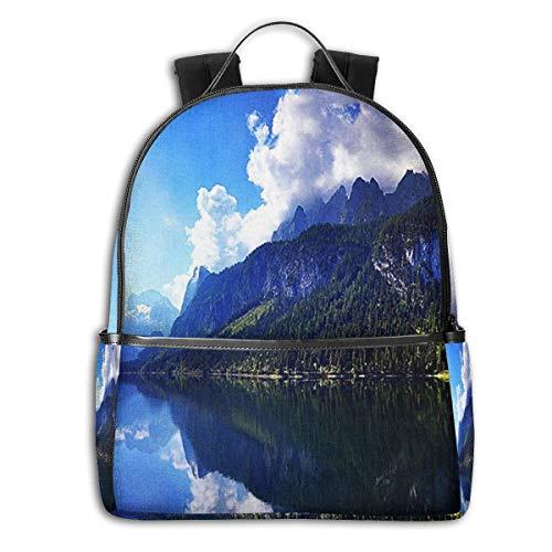 SGSKJ Mochila Tipo Casual Mochila Escolares Mochilas Escolar Estilo Impermeable para Viaje De Ordenador Portátil para Hombre Mujer Paisaje del Lago Austriaco