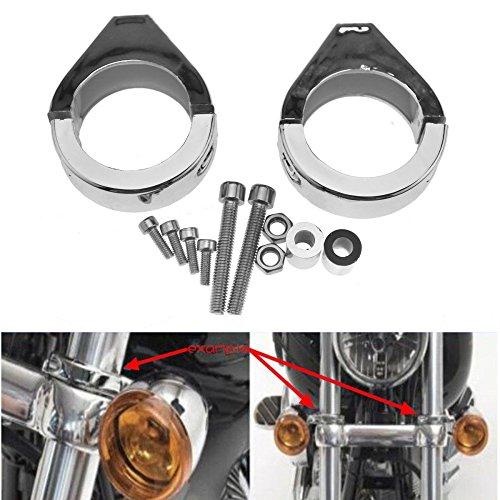 LEAGUE&CO 2X 39MM 41MM 49MM CNC Blinkerhalter Befestigung Klemmen Schwarz Chrome Gabel für Harley Dyna Softail Road Star (Chrome, 41MM)