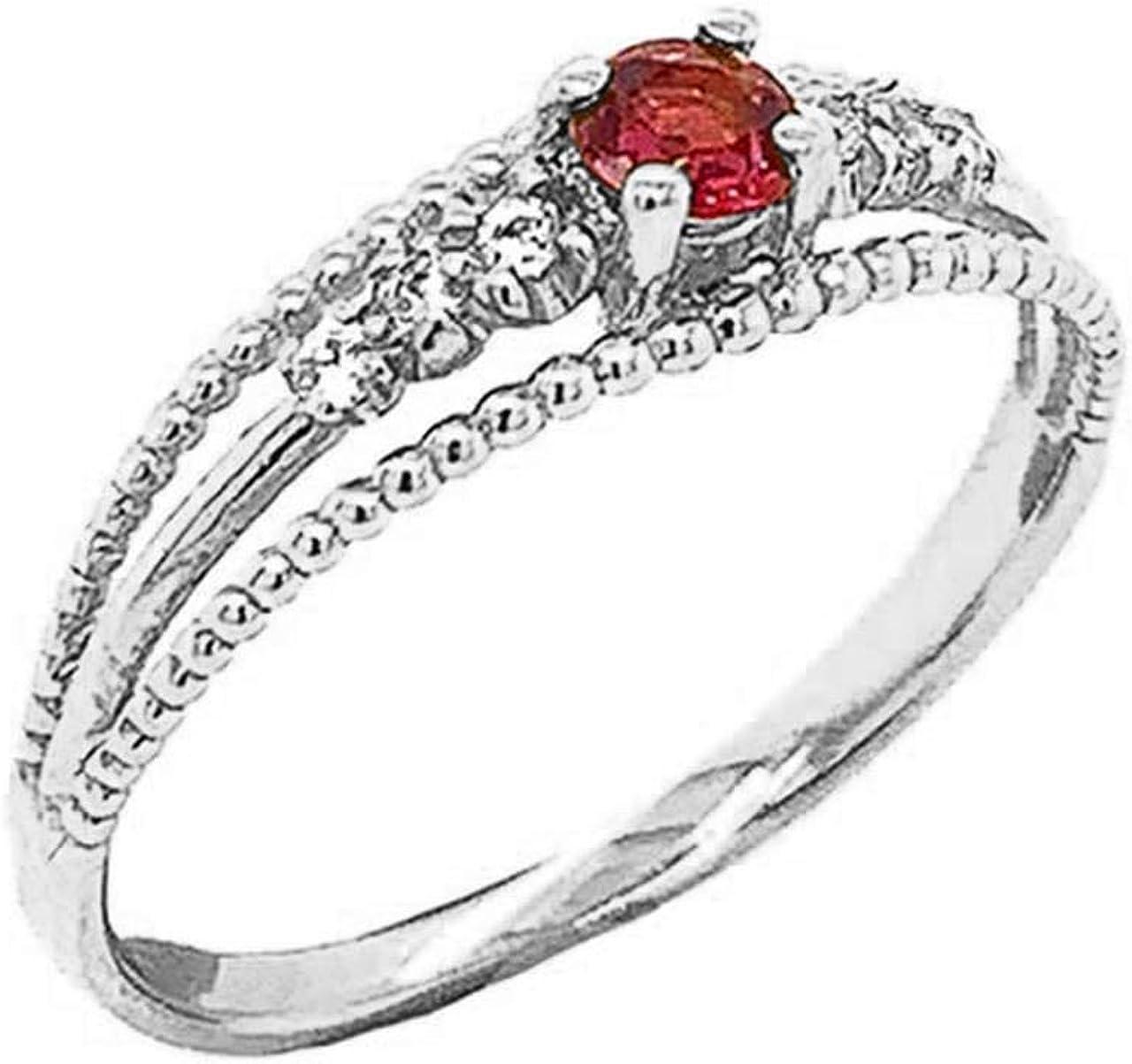 Certified 10k Gold Genuine Ruby and 超目玉 おトク Modern Diamond Pr Engagement