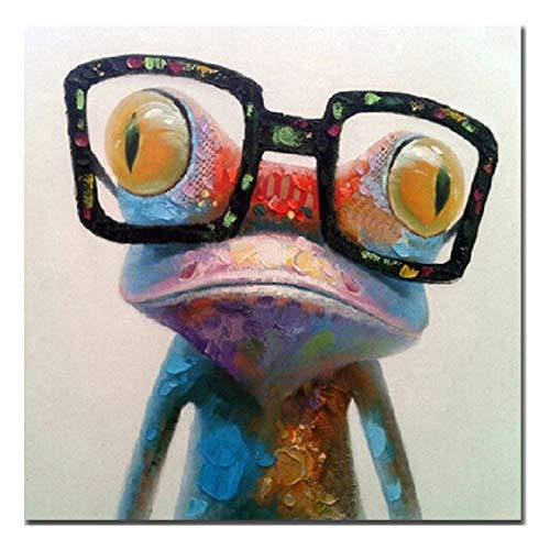 Fokenzary - Pintura al óleo hecha a mano, diseño de rana con gafas sobre lienzo estirado y enmarcado, listo para colgar, lona, 24x24in