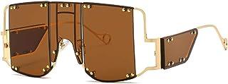 lunettes de soleil de mode surdimensionnées lunettes de soleil carrées rétro pour hommes femmes Design élégant rivet en mé...