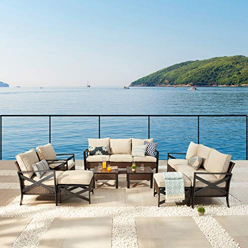 Festival Depot 12 Pcs Patio Outdoor Furniture Conversation Set Sectional Sofa with All-Weather Brown PE Rattan Wicker Back Chair, Ottoman, Coffee Table and Soft Thick Removable Couch Cushions