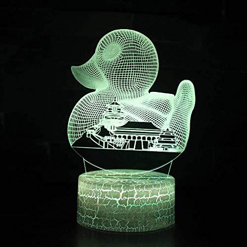 LKAIBIN USB colorido 3D LED botón táctil de Navidad luz de noche s creativo pato edificio de la ciudad modelado de los niños lámpara de escritorio dormitorio iluminación hogar decoración de año regalo