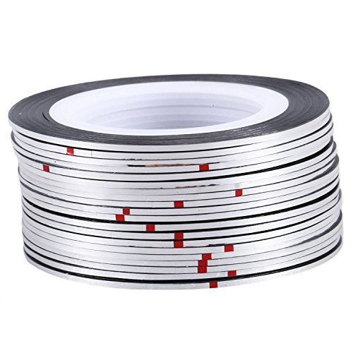 TOOGOO 20pcs nail Sticker Fil Bandes Striping Tape Autocollant Manucure Ongle Nail Art Tips argent