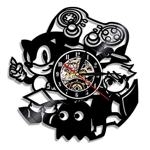 LiHiFG Reloj de Pared de Videojuego Vintage, decoración del hogar, Gamepad, Sala de Juegos, Letrero de Pared para Jugadores, Reloj de Pared con Registro de Vinilo, Juego para niños, Idea de Regalo