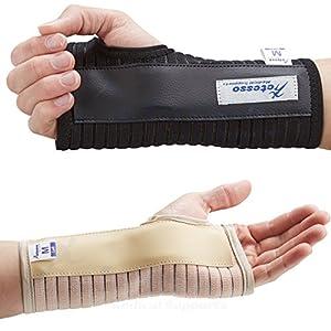 Actesso Atmungsaktive Handgelenkschiene Handschiene - Ideal für Karpaltunnelsyndrom, Verstauchungen, RSI und Sehnenentzündung/Sehnenscheidenentzündung - Links oder Rechts (Noir, Moyen Gauche)