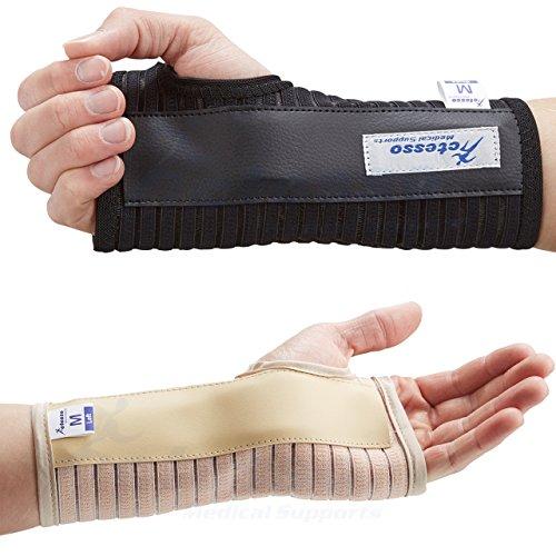 Actesso Atmungsaktive Handgelenkschiene Handschiene - Ideal für Karpaltunnelsyndrom, Verstauchungen, RSI und Sehnenentzündung/Sehnenscheidenentzündung - Links oder Rechts (Noir, Grande Droite)
